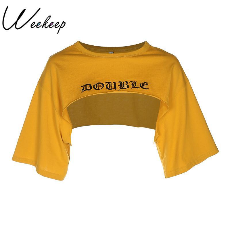 54cb984090 Weekeep Women Cropped Loose Letter Print T Shirt Summer Fashion Rash Guards  Crop Top Yellow Cotton O-neck Streetwear T-shirt Y190123