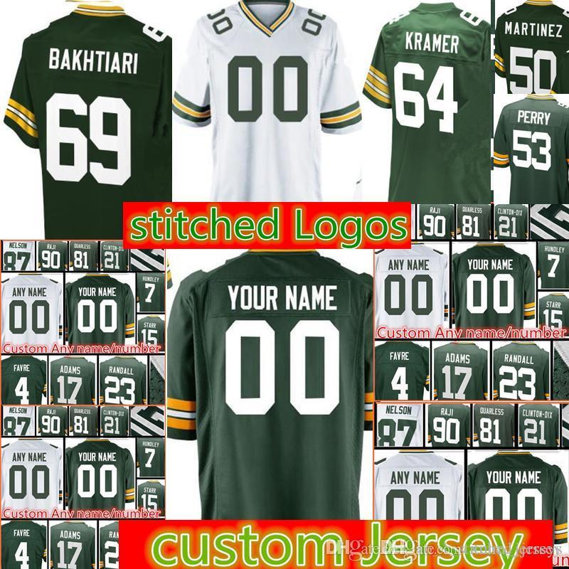 2018 Custom Green Bays Men Packers Jersey 64 Jerry Kramer 92 Reggie White 76  Mike Daniels 429bfac73