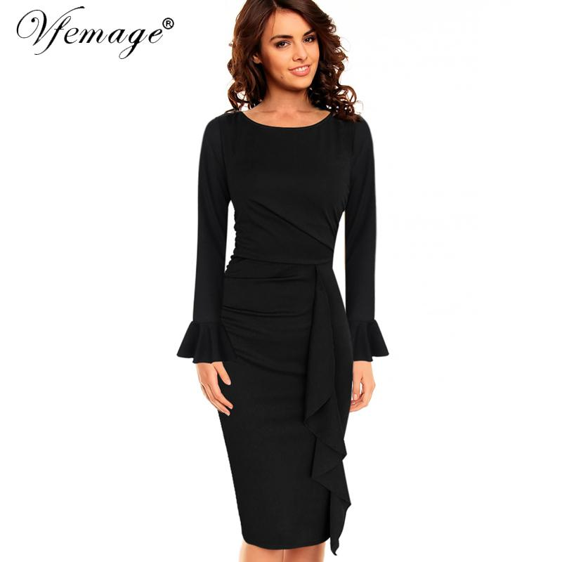 4b2a2050e6e Vfemage Womens Elegant Frill Ruffles Ruched Draped Vintage Retro Tunic Slim Work  Business Casual Party Bodycon Pencil Dress 6213 Y19012201 Online with ...