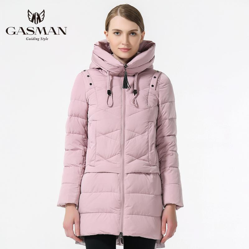 GASMAN 2019 Fashionable Coat Jacket Women's Hooded Warm Parkas Bio Fluff Parka Coat Hight Quality Female New Winter Collection