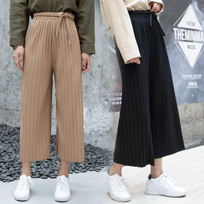 b8f4edab228 2019 2019 Women Pants Spring Autumn Pleated High Waist Loose Wide Leg Pants  Legs Straight Wild Ankle Length Pants Black White Khaki From  Godblessus163888