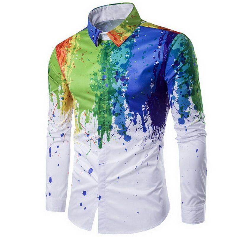 3f25a5462 Camisa de hombre 2019 Hombre Camisa de moda urbana Tinta Pintura de  salpicadura Color Autocultivo Ocio Mangas largas Camisas Tamaño grande