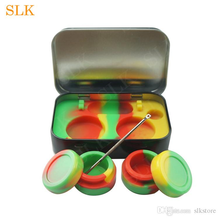 Four-in-one wax container holder 5-10ml silicone container jars non-stick storage box with tin case stainless steel wax carving tool