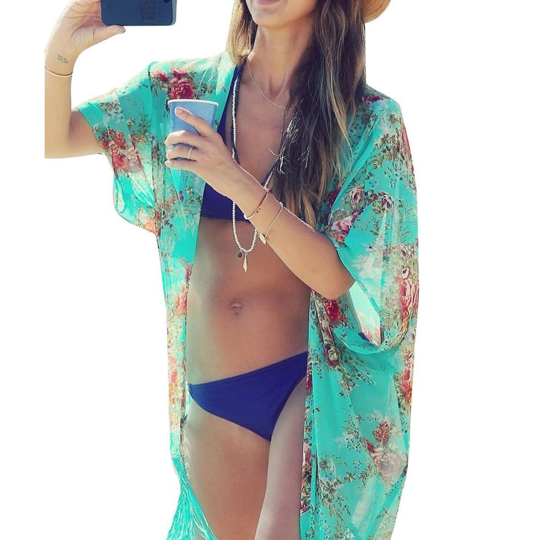 74324aec419a Para mujer Traje de baño Ropa de playa Bikini Ropa de playa Cubrir Kaftan  Camisa de verano Vestido gasa kimonos cardigans de playa florales vestido  ...