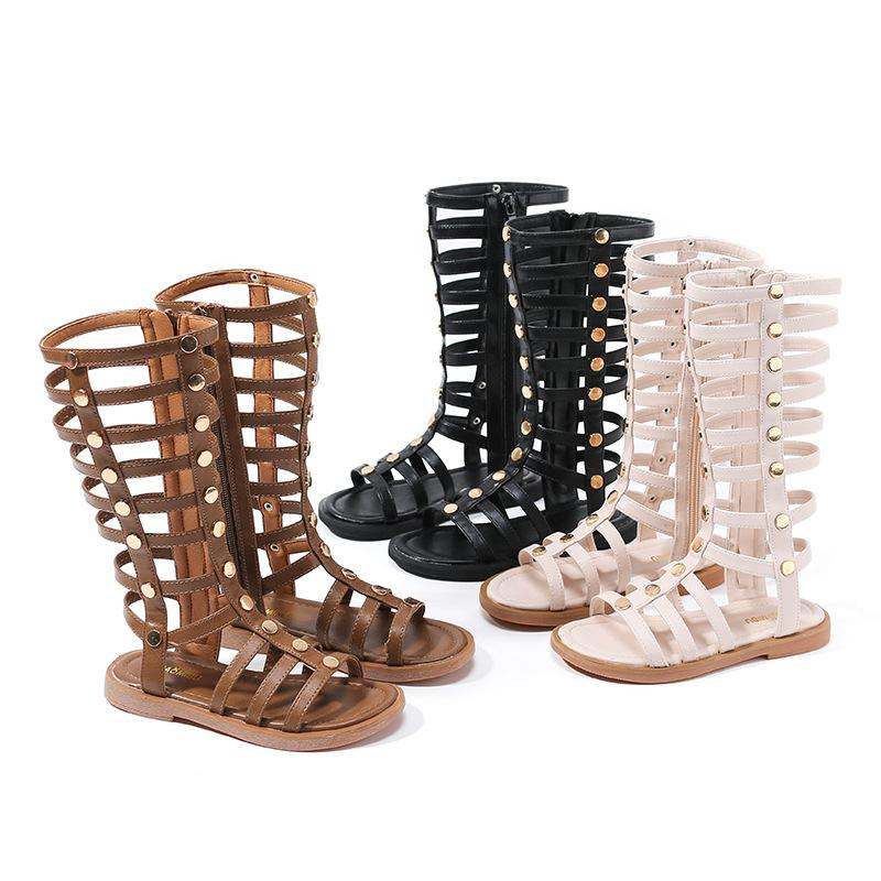 10de51b1af90 Girls Summer Roman Sandals Fashion Kids Rivet Hollow Flat Sandals Children  High Boot Campagus Boots Girls Zipper Gladiator Sandals Y1292 Online Toddler  ...