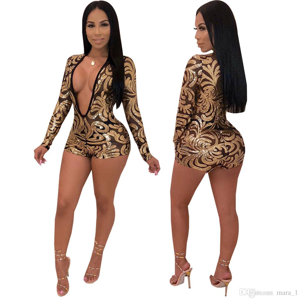 355b2789625 2019 Women Nightclubs Glitter Jumpsuits Rompers Sheer Deep V Neck Sequins  Jumpusit Sexy Night Club Party Jumpsuit Shorts Long Sleeve Rompers Dhl From  Mara 1 ...