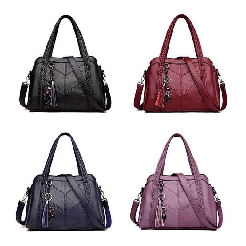 3992481c8e New Women Handbag Shoulder Bags Cat Pendant Tote Purse PU Leather Top  Handle Bags Messenger Hobo Designer Bags Ladies Handbags From Coldend
