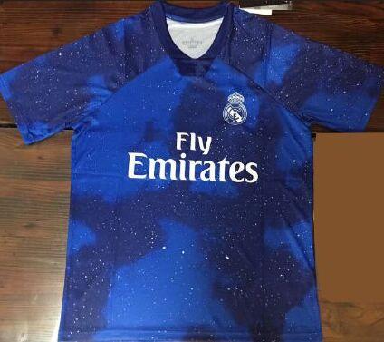 e314a6aeb4 Compre Novo Azul! Camiseta De Futbol Real Madrid Camisas De Futebol RM 2019  Maillots De Camisas De Futebol Cosmos Estrelas Realmadrid 2018 19 De ...