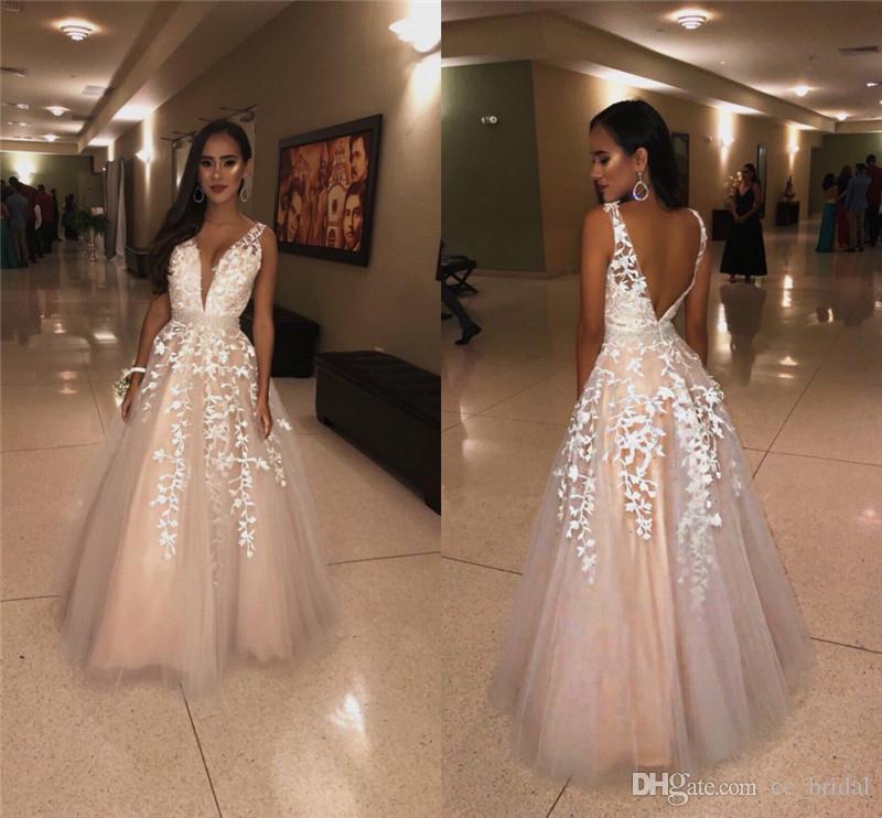 Modest Deep V Neck Prom Dresses Long 2019 Applique Lace Formal Red Carpet Evening  Dress Shining Beading On Waist Vestido De Festa Cheap Sale Formal Prom ... 3167e7d0cf47