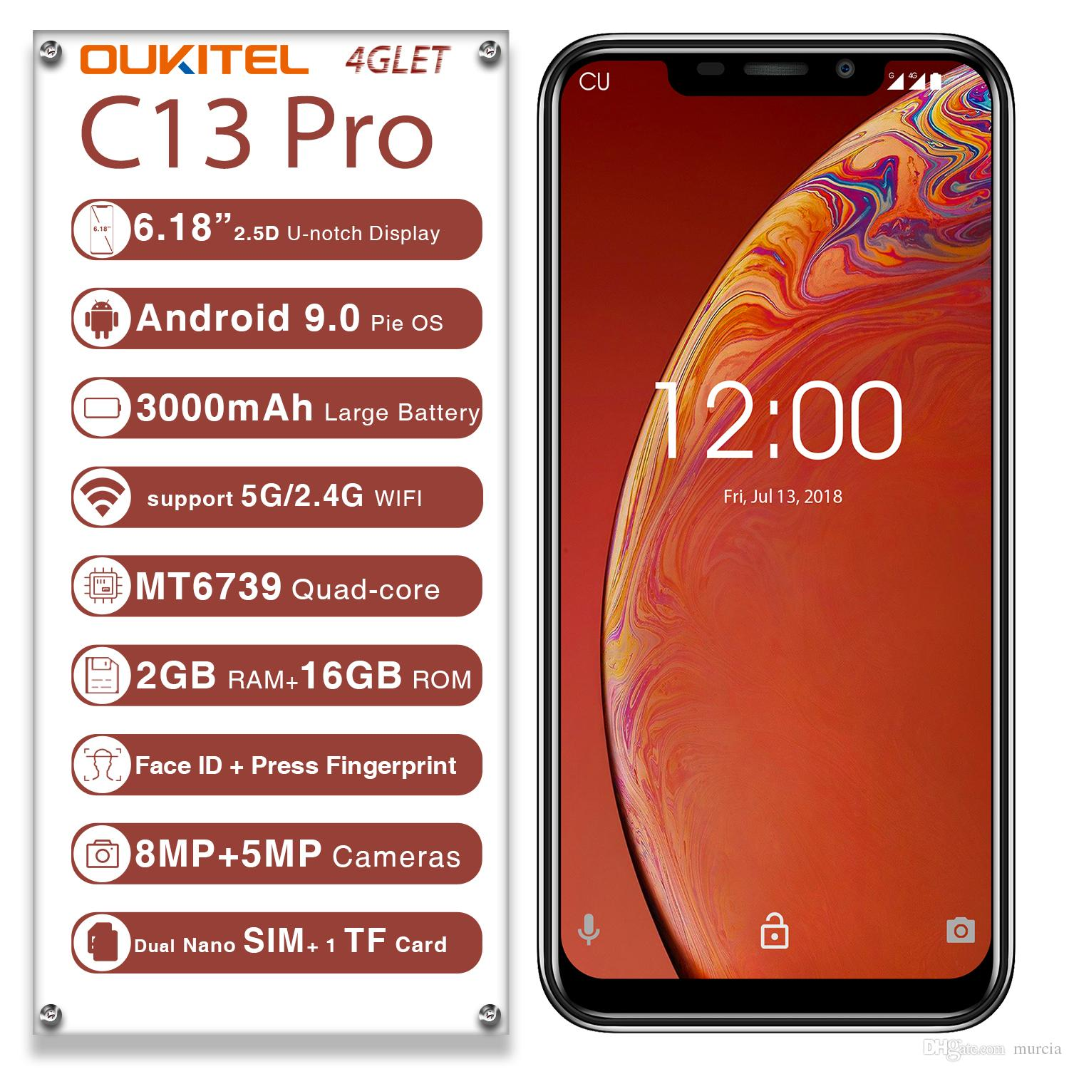 OUKITEL C13 Pro 5G 2 4G WIFI Android 9 0 Mobile Phone 6 18 19:9 2GB 16GB  MT6739 4G LTE Face Unlock Fingerprint ID Smartphone