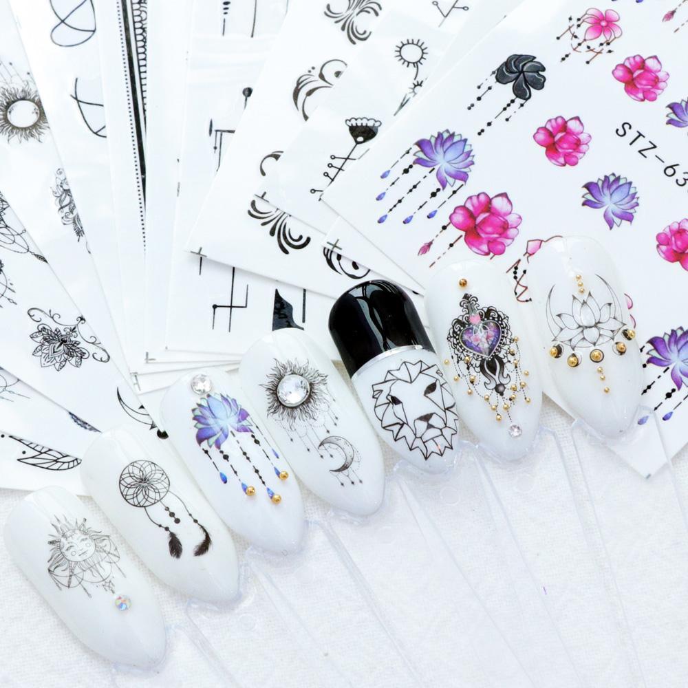 Neue Wasserzeichen Slider Nail Sticker Aufkleber Wasser Transfer Tattoo Blume Schmetterling Dekoration Maniküre Klebstoff Spitze 40 Teile Los