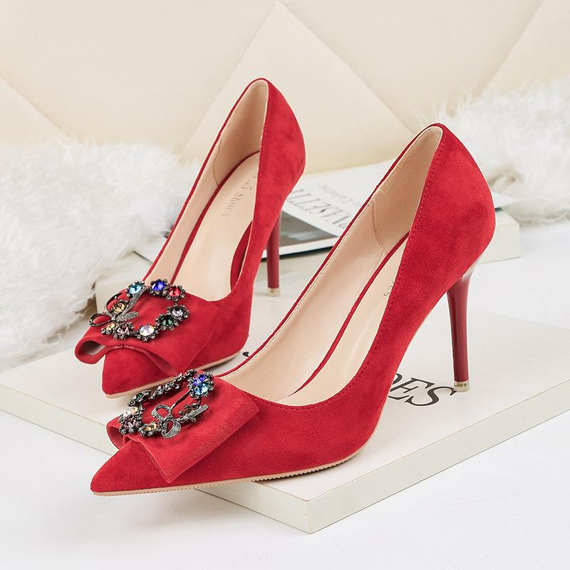 2d1019a39f6 Fashion pointed toe rhinestone high heels suede red stiletto heel pumps 5  colors office lady dress shoes for banquet
