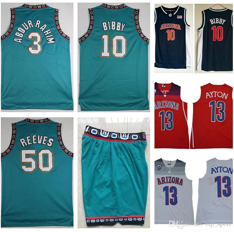 cheaper 4a81c 6449d College Basketball Wear 10 Michael Mike Bibby Jersey 3 Shareef Abdur Rahim  50 Bryant Reeves Vintage Arizona Wildcats Deandre Ayton 13 Short