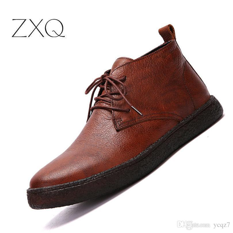 Handmade Genuine Leather Men Winter Boots Warm Casual No Slip Quality Ankle  Boots For Men Business Dress Shoe Wedges Shoes Designer Shoes From Ycqz7 ea1a610d174f
