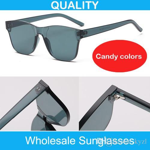 39386a26994d Colorful One Piece Transparent Colored Square Super Retro Sunglasses Candy  Women Men Rimless Sunglass Tinted Vintage Lady Sun Glasses Mens Sunglasses  Police ...