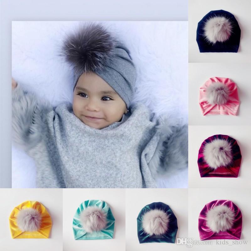 a61b46214cf 2019 Baby Girls Velvet Fur Pom Poms Hat Beanies Bonnet Indian Muslim Turban  Skull Cap Kids Fall Winter Hats Accessories From Kids show
