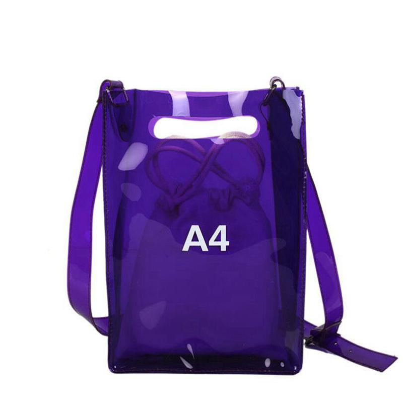 New Women Summer Beach Bag Pvc Transparent Bags Fashion Shoulder Waterproof Plastic Composite Crossbody Messenger Bags Lw-159