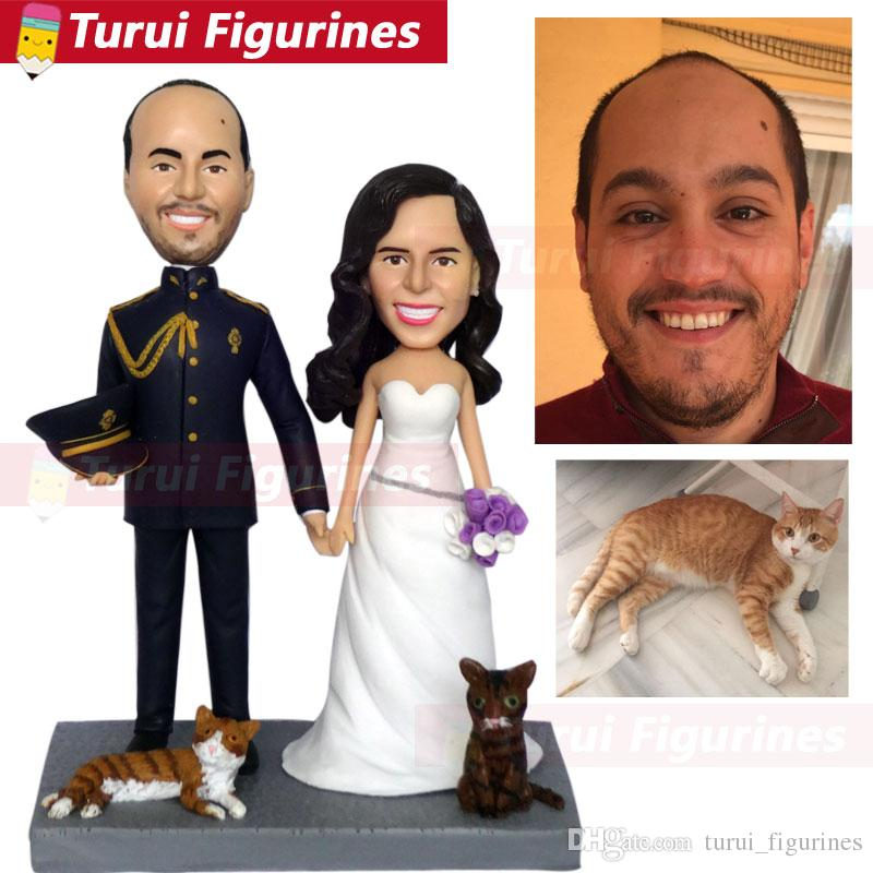custom sculptures copy from photo custom head statue statuette from picture wedding cake topper with dog cat figurine from photo