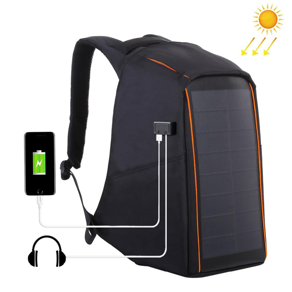 HAWEEL 12W Flexible Solar Panel Power Backpack Anti Theft Waterproof Backpack Laptop Bag &5V/2.1A Max Dual USB Charging Port