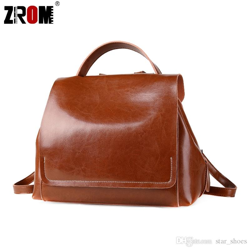 5a64040a43891 ZROM New arrival Genuine Leather Backpacks Women Korean Style Fashion  teenager School Backpack For Girls Real Cow Leather Bags #266929