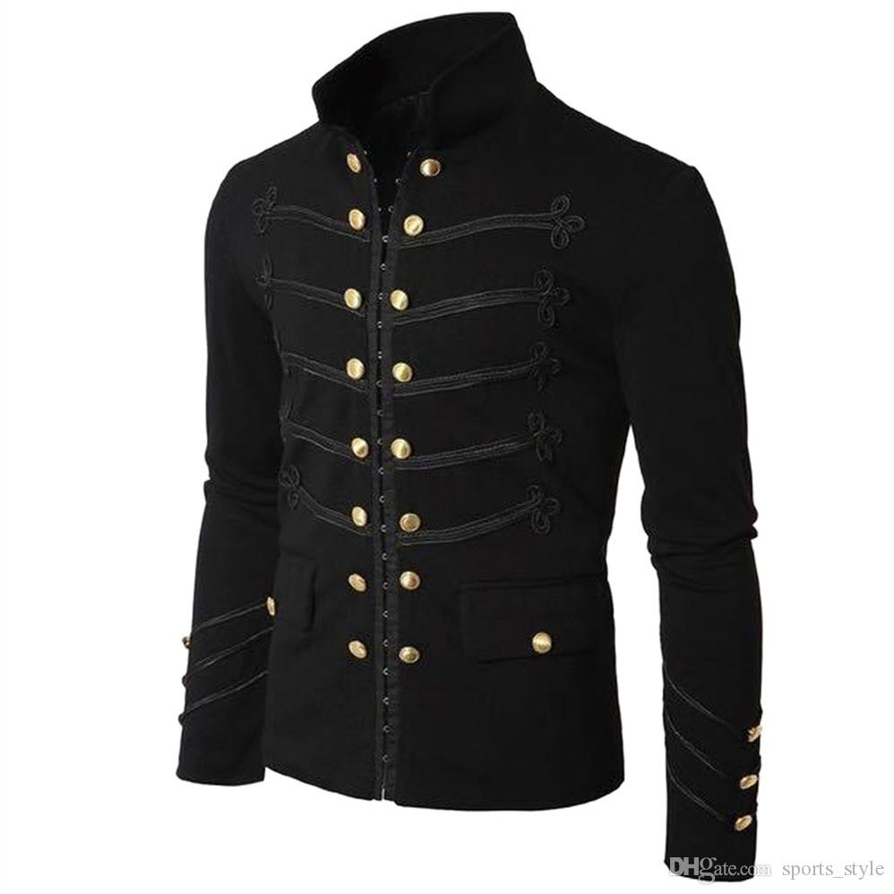 Men Vintage Military Jacket Gothic Military Parade Jacket Embroidered  Buttons Solid Color Top Retro Uniform Cardigan Outerwear #384865