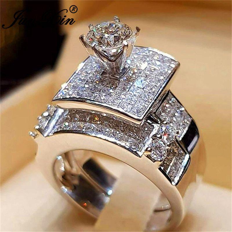 Wedding Ring Set.Junxin Fashion Bridal Ring Sets For Women 925 Silver Filled Pave White Crystal Big Engagement Ring Female Vintage Wedding Bands