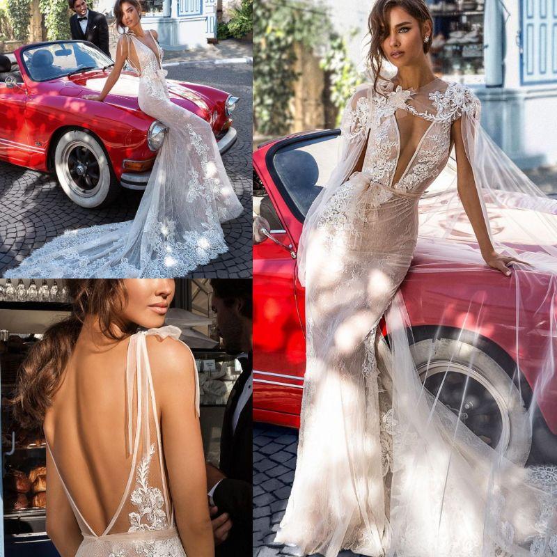 078ce1fe3791 Sexy Mermaid Wedding Dresses With Detachable Wrap Long Train Elihav Sasson  2019 Backless Straps Beach Boho Bridal Gowns Full Lace Appliqued Bridal  Dress .