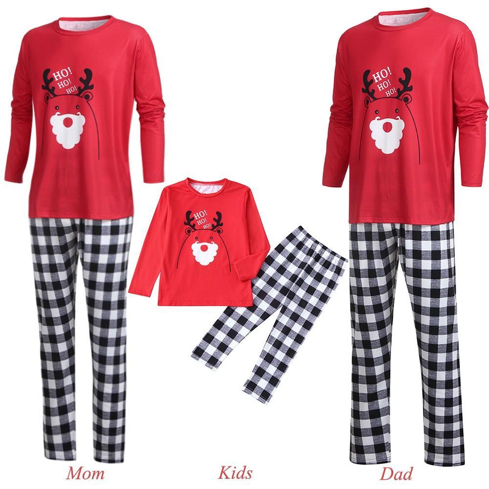 5c3130b2bf ... Pajama Set Lady Mamma Cervo Plaid Stampato Cartoon Lettera Cervo Top +  Pantaloni A Quadri Famiglia Vestiti Pigiama 2019 A $24.62 Dal Calars |  DHgate.Com