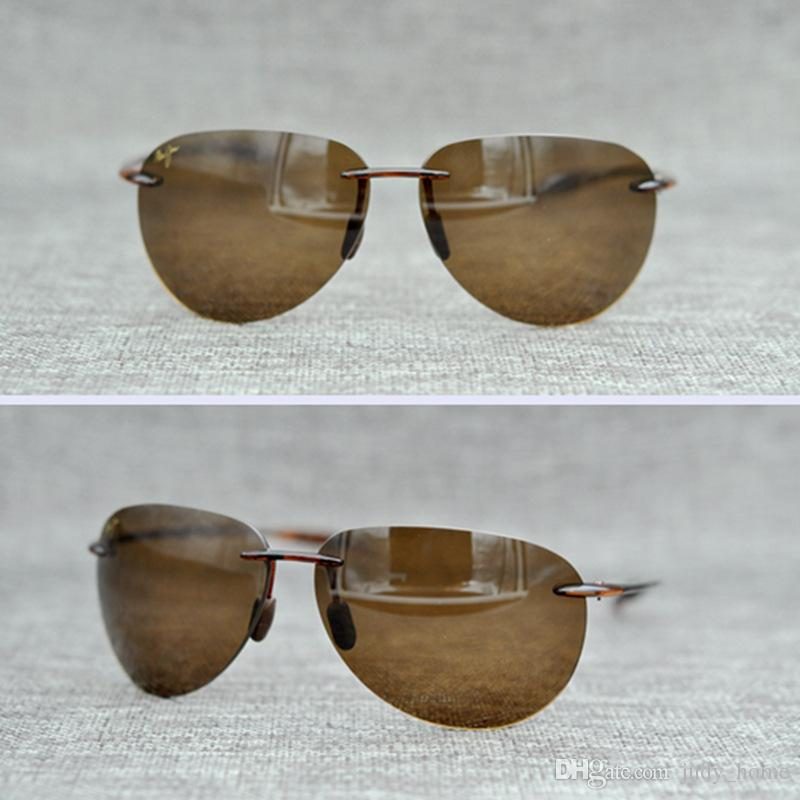 2dc5ae2e4ce9 TR90 Frame Eyewear Rimless Sunglasses UV400 Brown Silver Grey Lens ...