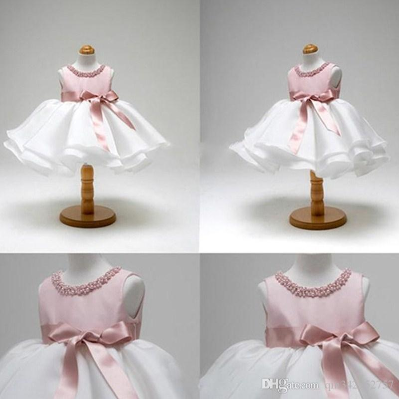 Pink Dress for Baby Christening Gown First Birthday Party Girl Baby Clothing Ball Gown Toddler Infant Vestido Infantil
