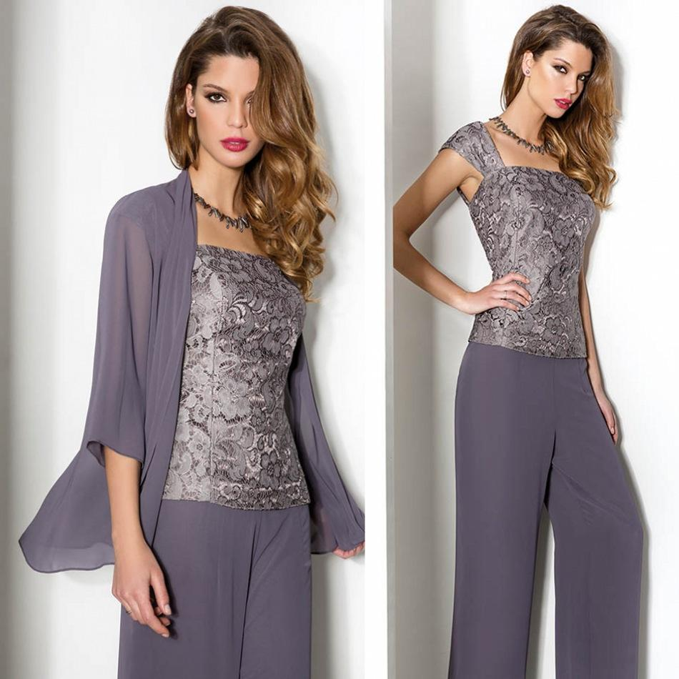 50122ccca3c Hot Sale Lace Pants Suits For Mother Bride Square Neckline Evening ...