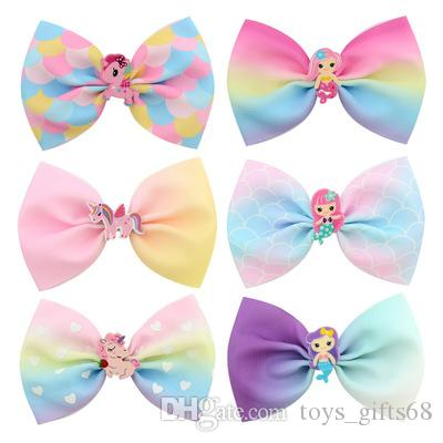 Korean version of the mermaid acrylic cartoon bow hairpin children's hair accessories baby side clip clamp bangs clip