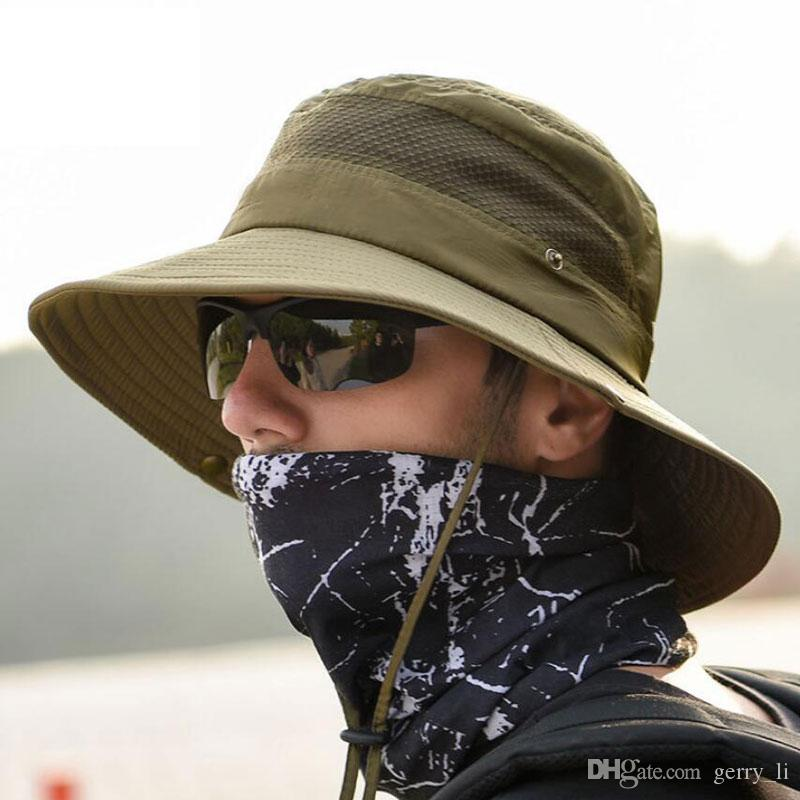 25c54a40a Summer Anti UV Bucket Hat Men Mesh Patchwork Fisherman Cap Women Outdoor  Sun Protection Fishing Hiking Hat Foldable Breathable Caps X9045