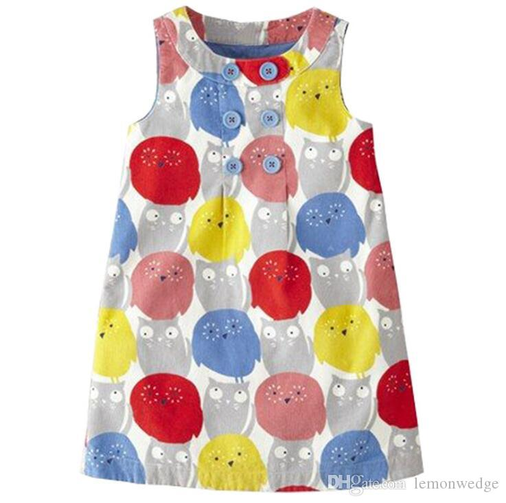 Kids Clothing Summer Cotton Sleeveless Dress Girls Flower printed Clothes Princess Clothing