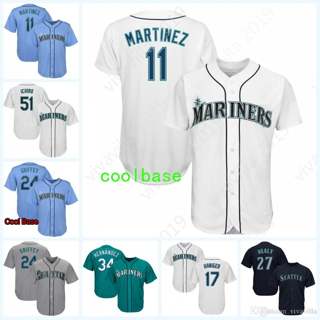 half off 9aa8d 7e5fc Seattle 11 Edgar Martinez 51 24 Mitch Haniger Jersey Any name Any number  Home Blue Grey White Green Baseball Jerseys Men s women youth