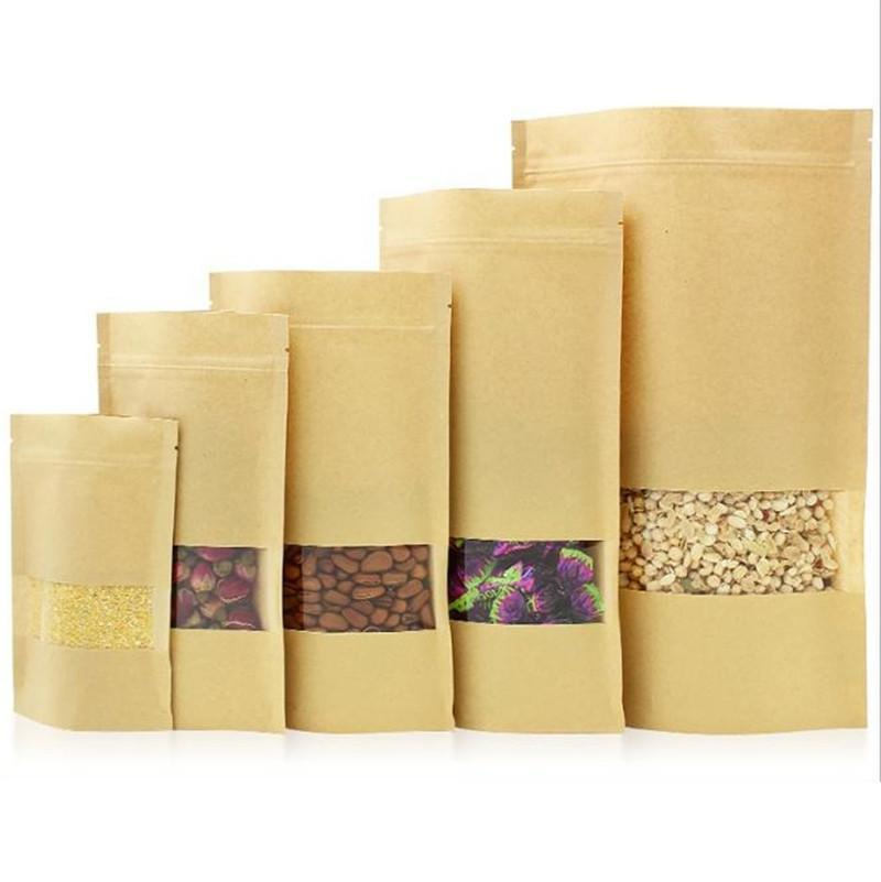 100Pcs Food Moisture-proof Bags,Window Bags Brown Kraft Paper Doypack Pouch Ziplock Packaging for snack,Cookies c523
