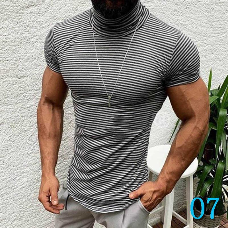 Men T-shirt Fashion Casual 2019 New Arrival Spring Slim Striped Print Quick Dry High Collar Cotton Blend Size M-XXXLO7