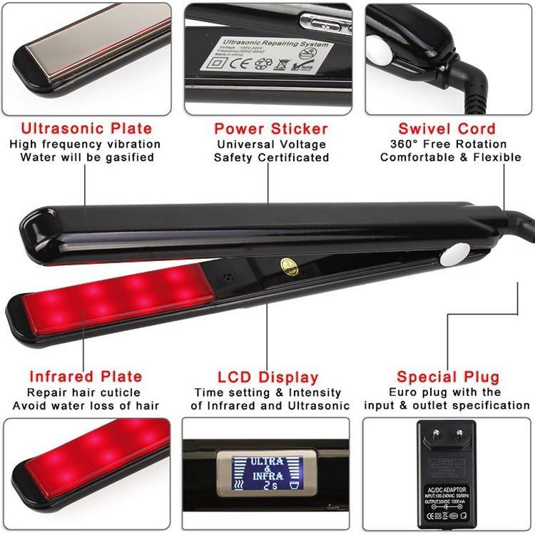Pantalla LCD ultrasónico infrarrojos Hierro Recuperar el cabello dañado sin problemas Herramientas de pelo Plancha Tratamiento de Frío enderezadora cuidado del cabello Uso personal