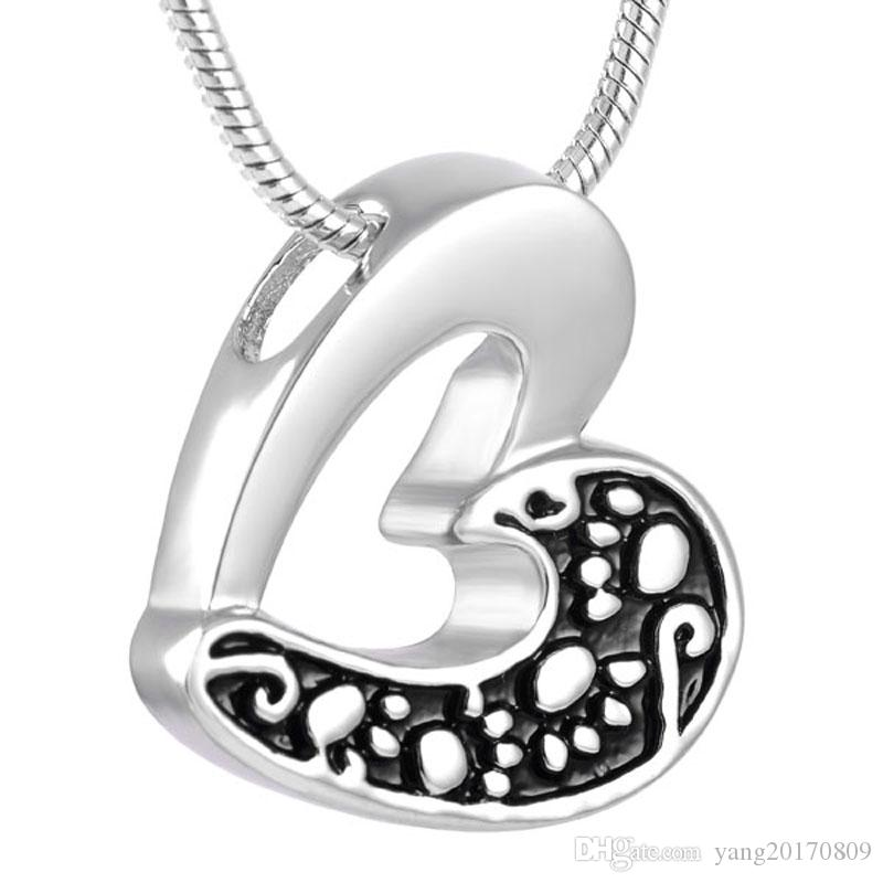 Stainless Steel Cremation Urn Hollow Out Heart Fashion Women Necklace in Memory of Loved One with Chain Jewelry IJD8233