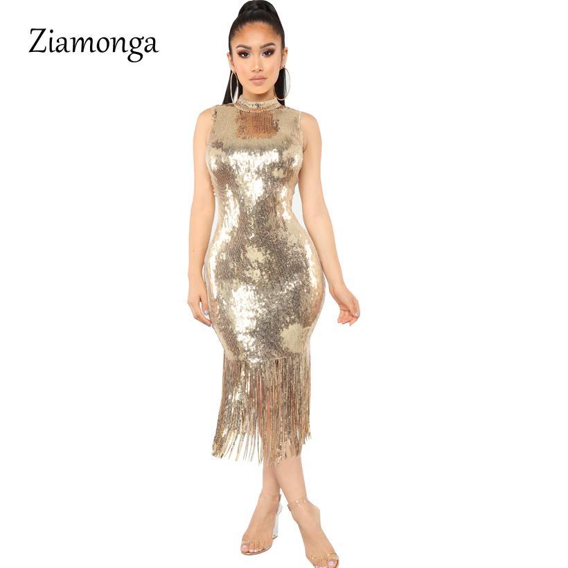 465881a04b Ziamonga Golden Black Long Formal Party Dresses Sexy Turtleneck Sleeveless  Bodycon Dress Women s Vintage Tassel Sequined Dress