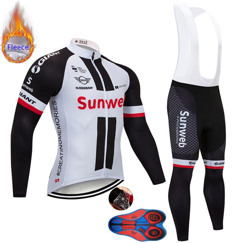 c7769a180 Ropa Ciclismo Invierno 2019 Pro Team Sunweb Winter Thermal Fleece Cycling  Jersey Set MTB Bike Clothing 9D Gel Pad Bib Pants Kit Mtb Clothing Winter  Cycling ...