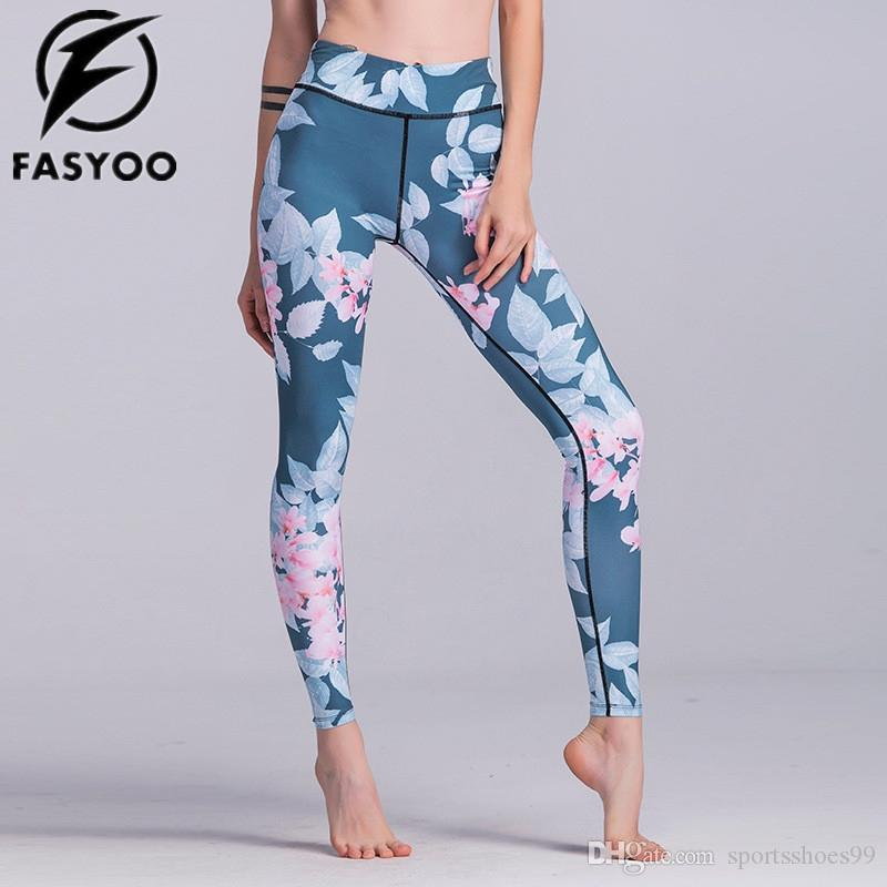 79823bac18d8f 2019 FASYOO Flower Graphic Sport Yoga Legging Women Fitness Training  Exercise Jogging Pants Workout Gym Running Tights #289593 From  Sportsshoes99, ...