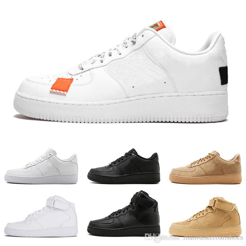 nike air forces 1 forzando un calzado de moda Todo blanco, negro, corte alto, alto, hombres, mujeres, zapatillas deportivas, zapatos casuales,