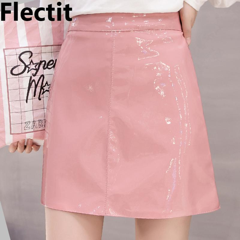 459944426e36c Flectit Black Pink Wet Look Faux Leather Skirt Women High Waist A-line Mini  Latex Skirt Festival Party Club Vinyl Skirt Y190411