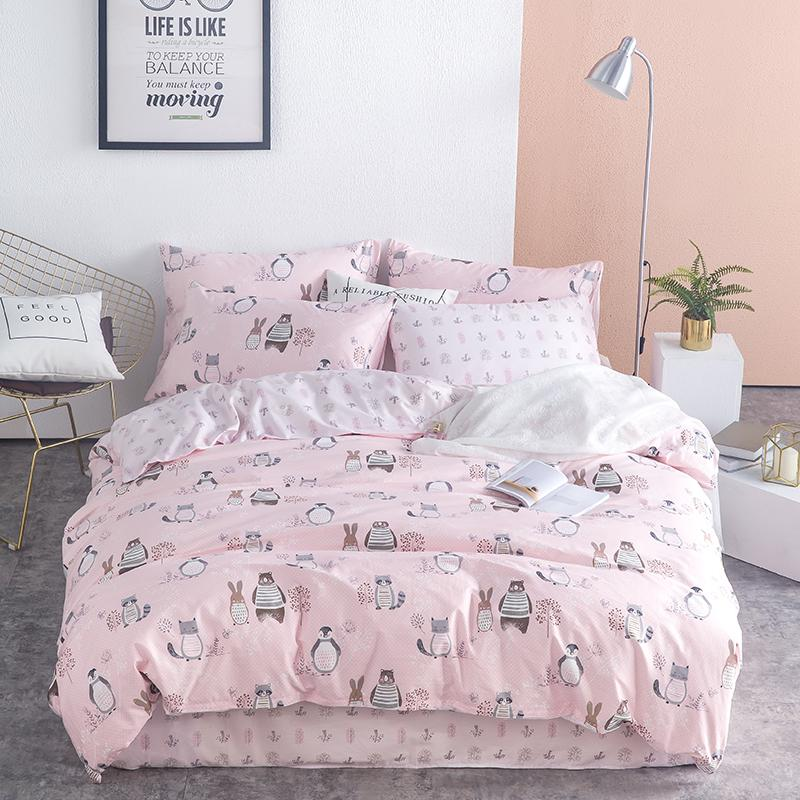 Home Textiles 100% Cotton Cartoon white pink Totoro animal Printed Bedding Set Kid twin queen Bed Sheet Duvet Cover pillowcases