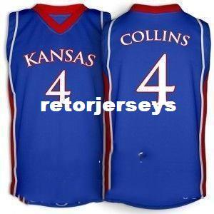 Cheap Sherron Collins Jersey #4 Kansas Jayhawks Red Blue White Retro vest T-shirt Double Stitched College Basketball Jersey