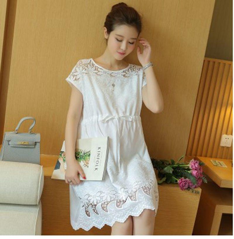 0c9f071a15649 2019 Summer New Maternity Dress Korean Fashion Cotton White Openwork Flower  Large Size Dress Tide Fashion Pregnancy Skirt From Yohkoh, $29.37 |  DHgate.Com