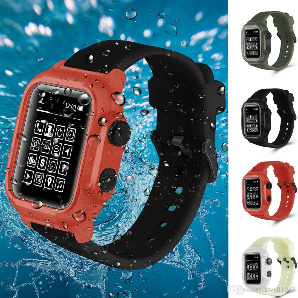official photos 27f21 eff2d for Apple Watch Series 4 3 2 1 Sport Silicone Waterproof Band Strap  Replacement iWatch 42mm/44mm Case Cover