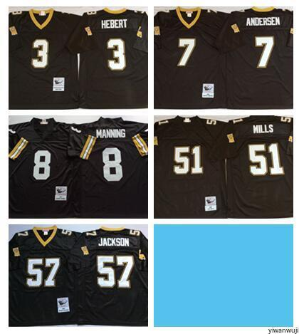 new product a9f4e e97b1 Throwback New Orleans Saints Vintage 57 Rickey Jackson Jersey Men Football  7 Morten Andersen 3 Bobby Hebert 51 Sam Mills 8 Archie Manning