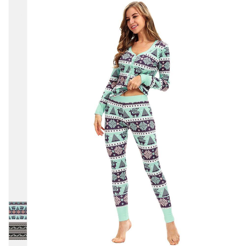9a717ee2c Compre Senhoras Pijamas Calças Conjunto Amazon Explosão De Natal Elk  Impressão Digital Slim Fit Set Casual Manga Comprida Terno Pijama Atacado  De Lw900806